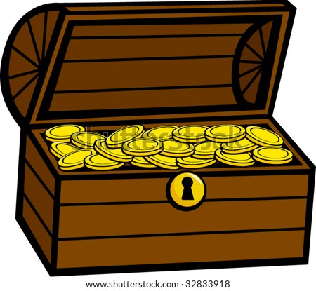 treasure chest with golden coins - stock vector