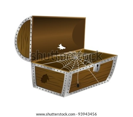 treasure chest with nothing in it.  Topics: economic crisis