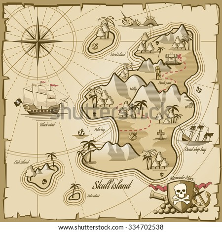 Stock Photo Treasure island vector map in hand drawn style. Sea adventure, ocean navigation, plan and path parchment, monster and chest illustration
