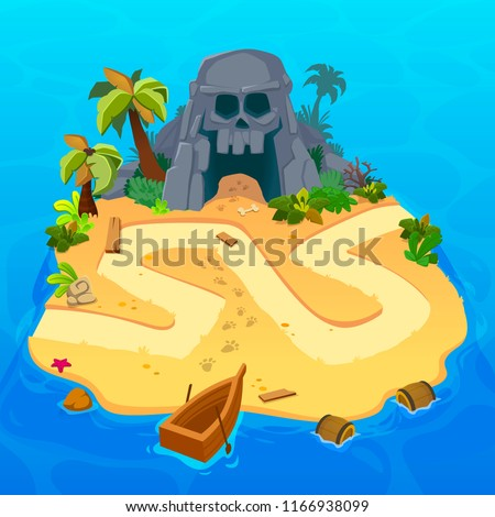 Treasure level map for game. Treasure map with Pirates islands. Vector background for game interface. Uninhabited island