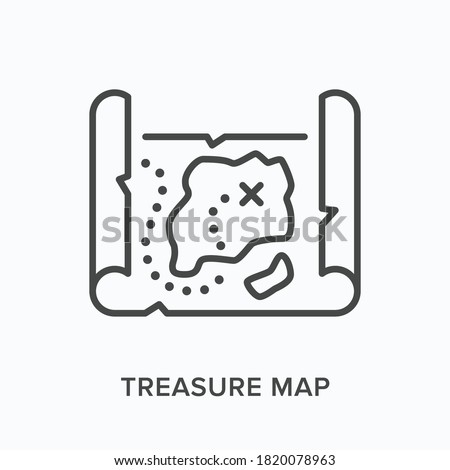treasure map flat line icon