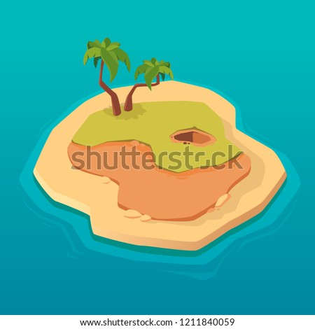 Treasure map for game. Treasure island. Vector background for game interface. Uninhabited island