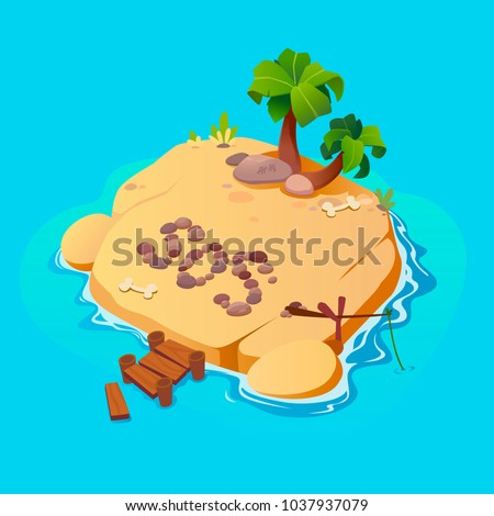 Treasure map for game. Treasure map with islands. Vector background for game interface. Uninhabited island