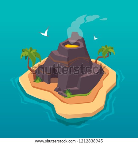 Treasure map for game. Uninhabited island with volcano. Vector background for game interface. Pirates islands.