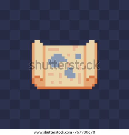 Treasure Map on Parchment Scroll. Pixel art style icon. Game assets. 8-bit. Isolated abstract vector illustration.