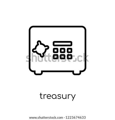 Treasury icon. Trendy modern flat linear vector Treasury icon on white background from thin line business collection, editable outline stroke vector illustration