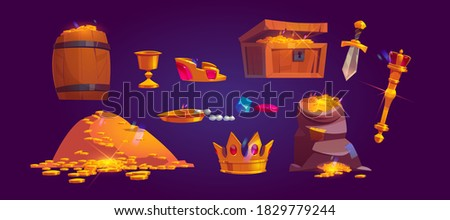 Treasury icons of pile of golden coins, jewelry and gem. Vector cartoon set of treasure chest, bag and wooden barrel full of gold, goblet, crown, scepter and dagger