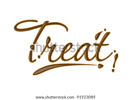 treat text made of chocolate vector design element.