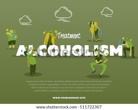 Treatment alcoholism banner with drunk alcoholic vector illustration. Alcohol abuse, alcoholism in family, man and woman with alcohol bottle concept.