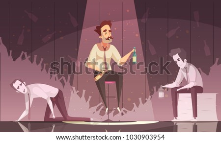Treatment alcoholism dark poster with three drunk men holding alcohol bottles flat vector illustration
