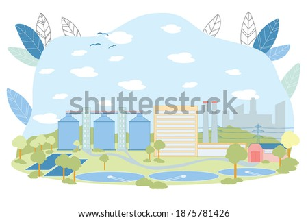 Treatment Facilities Vector Illustration. Waste Water Cleaning Facility with Round Reservoir Pool. Sewage Treatment Cleaning Construction. Sedimentation Primary Process. Wastewater Recycle Stockfoto ©
