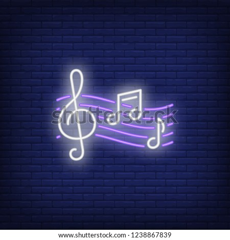Treble clef and music notes neon sign. Classical music, concert or advertisement design. Night bright neon sign, colorful billboard, light banner. Vector illustration in neon style.