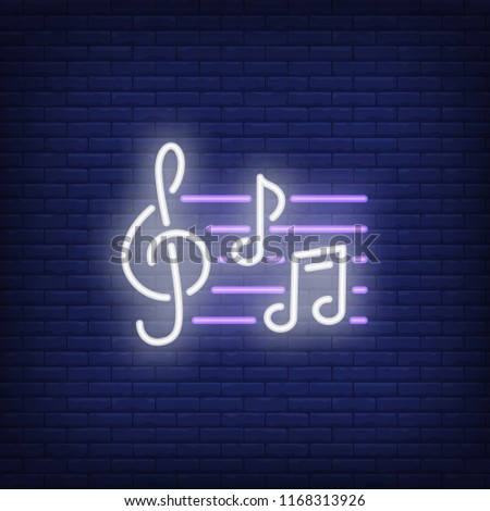 Treble clef and notes neon sign. Music and sound concept. Advertisement design. Night bright neon sign, colorful billboard, light banner. Vector illustration in neon style.