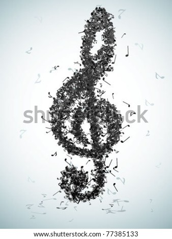 Treble clef from notes