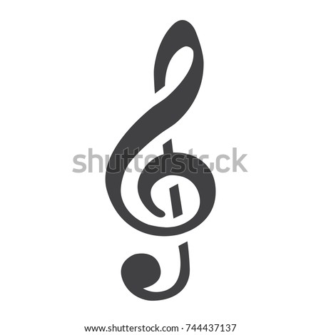 Treble Clef glyph icon, music and instrument, note sign vector graphics, a solid pattern on a white background, eps 10.