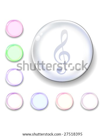 Treble clef icon on translucent glass orb vector button