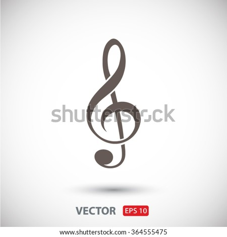 treble clef  icon. One of a set of linear web icons