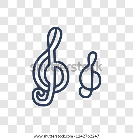 treble clef icon. Trendy linear treble clef logo concept on transparent background from Music collection