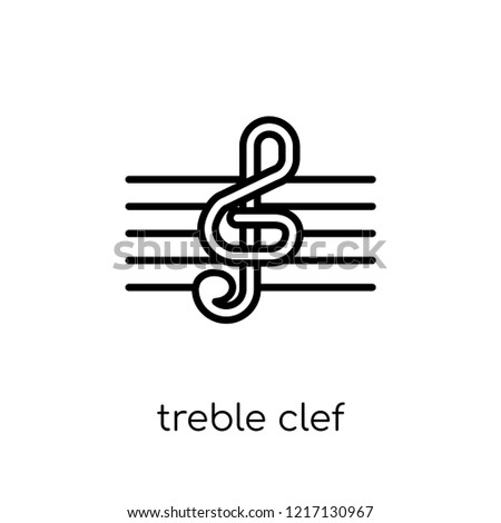treble clef icon. Trendy modern flat linear vector treble clef icon on white background from thin line collection, outline vector illustration