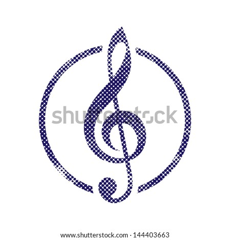 Treble clef icon with halftone dots print texture. Macro newspaper style vector symbol.