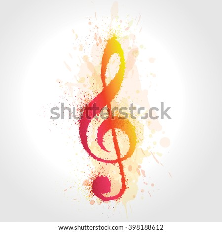 Treble clef illustration with brush strokes and colors. Colors with watercolor effect. Vector.