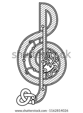 Treble clef in Celtic style. Imagine de stoc ©
