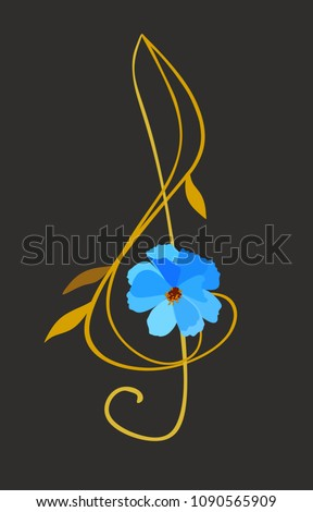 Stock Photo Treble clef in shape of blue cosmos flower with golden stem and leaves isolated on black background. Musical logo in vector.