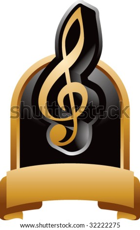 treble clef music note on gold display