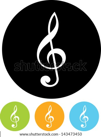 Treble clef music vector icon