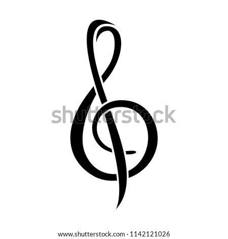 Treble Clef Musical Note Symbol Design