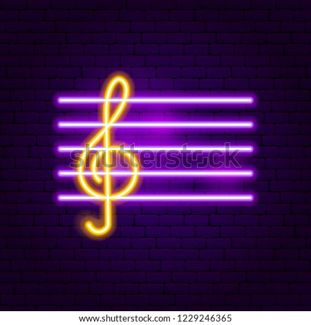 Treble Clef Neon Sign. Vector Illustration of Music Promotion.