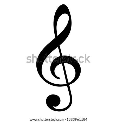 Treble clef on white background. Vector illustration