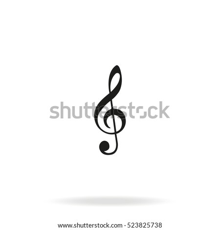 Treble clef vector icon isolated on white background.