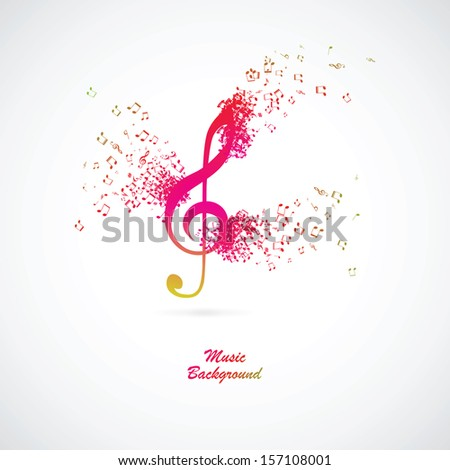 Treble clef with burst effect, vector illustration