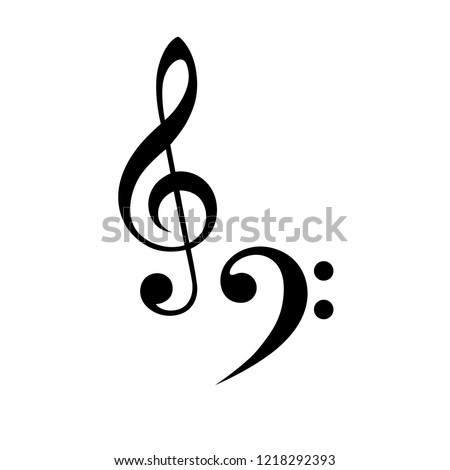 treble clefs flat icons, flat note music vector template, tribal tattoo style, isolated musical sign - treble clefs,