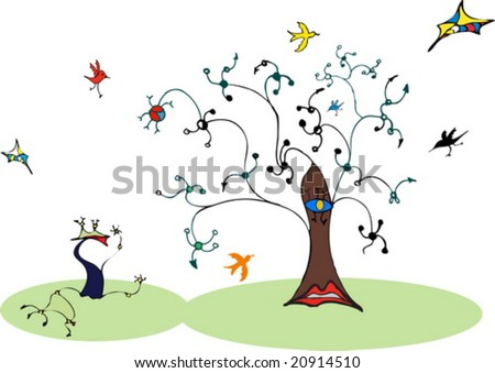 Tree and birds in Miro style