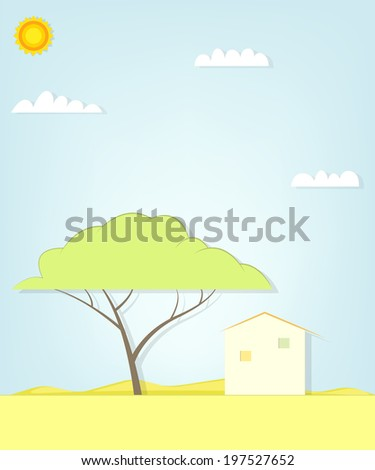 tree and house in the desert