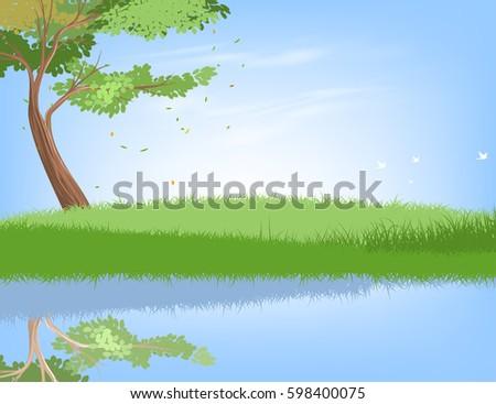 tree and lake scene vector
