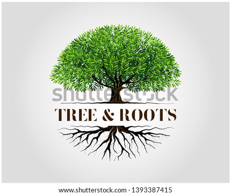Tree and roots logo design vector isolated,  tree with round shape Stock fotó ©
