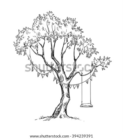 Tree and swing. Vector sketch.