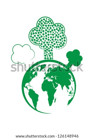 Tree and the world vector - stock vector