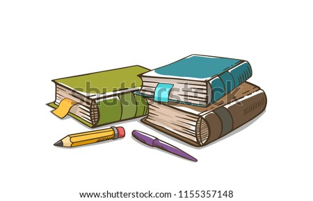 Tree books with pen and pencil on white background. Green book. Brown book. Blue book. Cartoon vector.