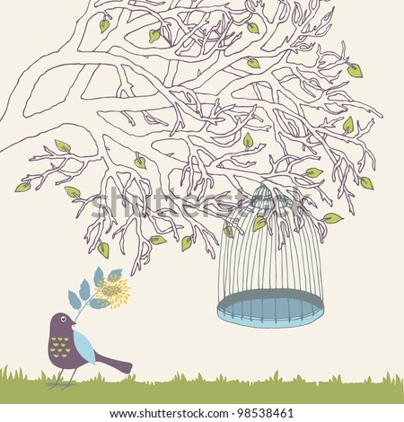 Tree branch and empty bird cage