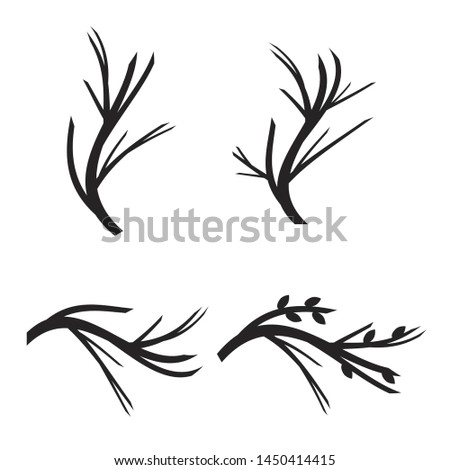 Tree branches. Vector tree branches silhouette. Leaves, swirls and floral elements