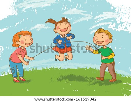 Tree Children Playing Skipping Rope. Children illustration for School books and more. Separate Objects. VECTOR.