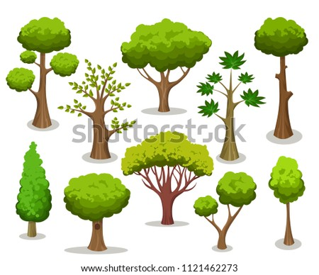 Tree collection. Cartoon natural trees clipart isolated on white background for naturally vector illustrations #1121462273