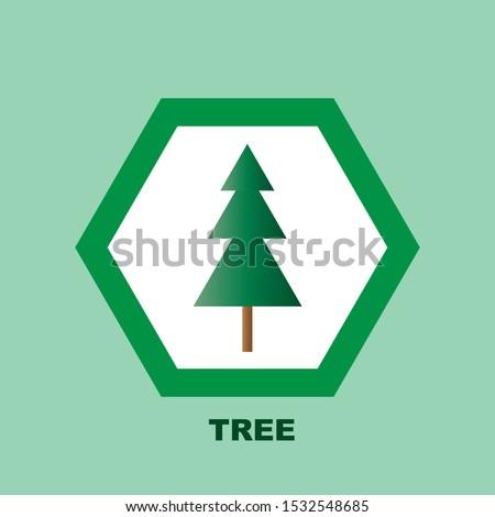 Tree, coniferous tree, Christmas tree. Icon of the tree.