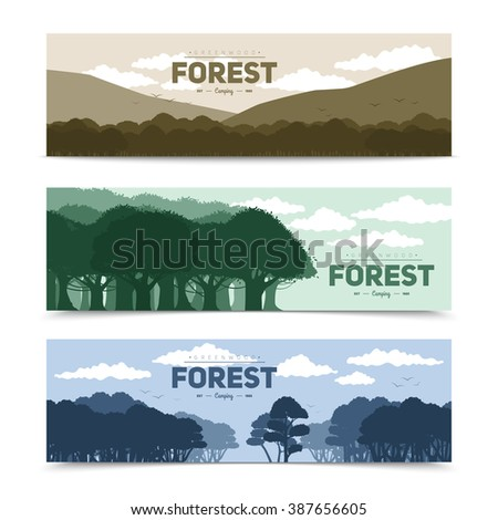 tree forest banners set with