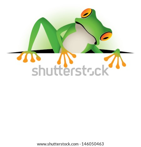 Tree frog border - stock vector