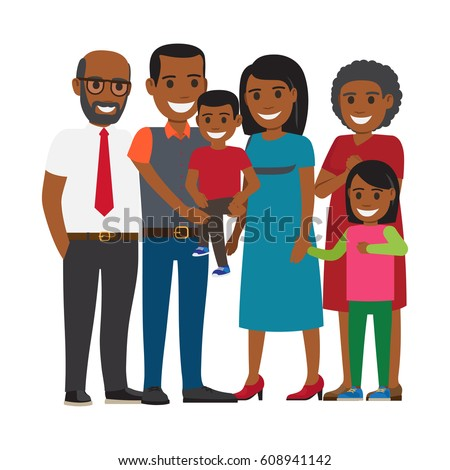 Tree generations of family together. African american boy and girl with their parents and grandparents isolated flat vector. Happy relatives illustration for family values and relations concepts